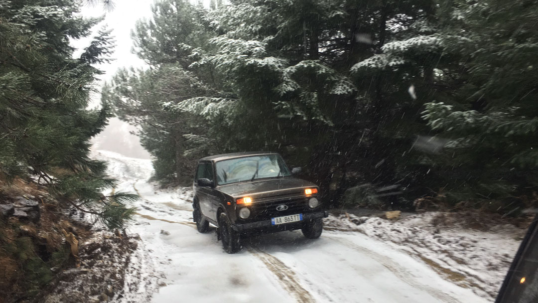 Lada 4x4 driving on snow