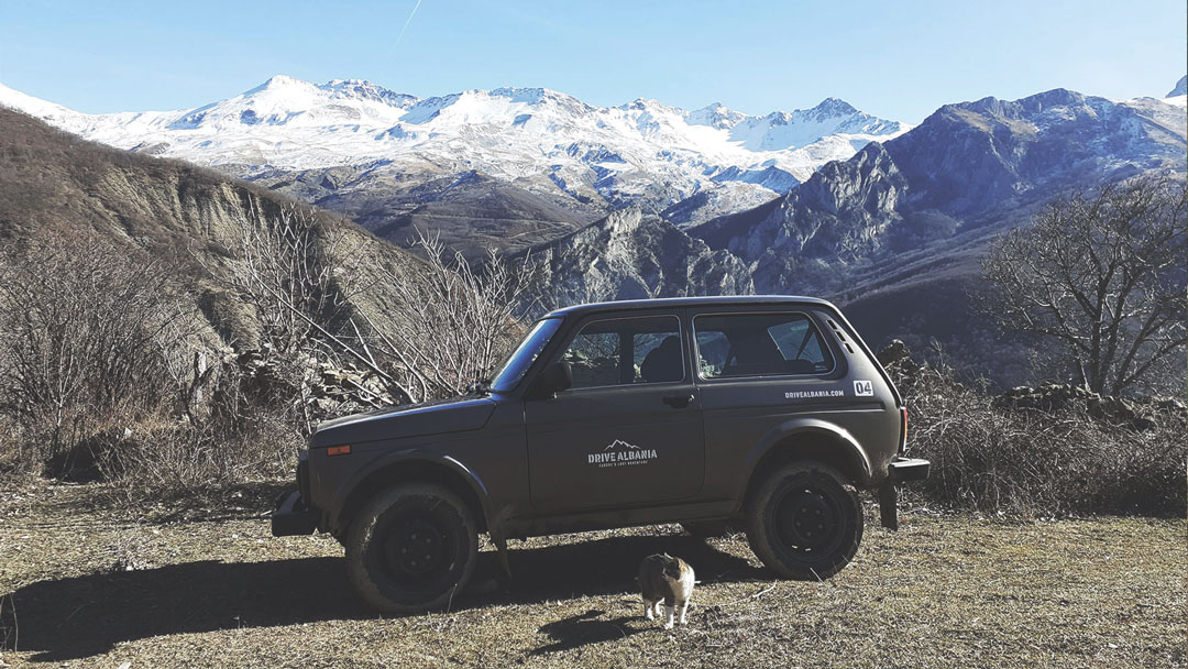 Lada 4x4 posing in the amazing Albanian landscape